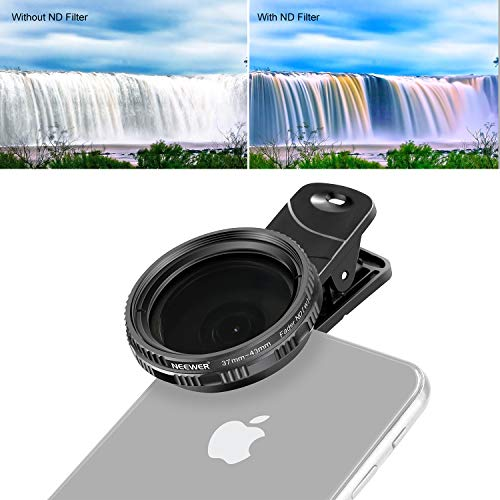 Neewer 37mm clip-on ND 2-400 Handy Objektiv Filterset: verstellbar ND Filter mit Handyklemme für iPhone X 8 plus 7 Plus 7 6 6S Plus Samsung HTC Motorola iPad und andere Smartphones