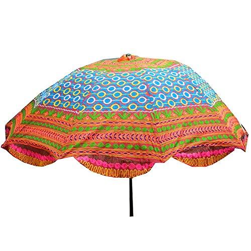 indischerbasar.de Sonnenschirm 180cm Bunte Stickereien Mehrfarbig Bunt Baumwolle Accessoire