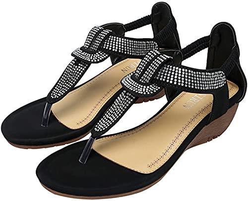 Sandalias de mujer con tachuelas, sandalias de verano con cuña para mujer, sandalias de estilo bohemio, sandalias para la playa, con clip para los dedos, con bolsa de almacenamiento, color negro, 35