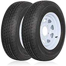 Ark Motoring ST205/75R15 Radial Trailer Tire With 15x5 inch Wheel, 8-Ply Load Range D, Set of 2