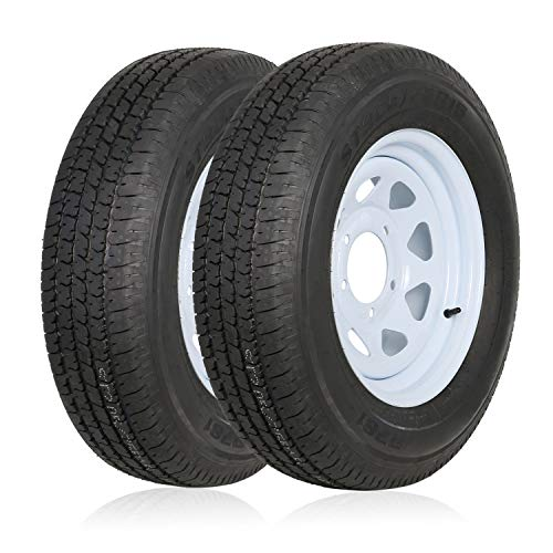 Ark Motoring ST205/75R15 Radial Trailer Tire With 15x5 inch Wheel (5x4.5 Bolt), 8-Ply Load Range D,...