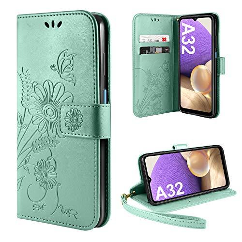 ivencase Funda Compatible con Samsung Galaxy A32 5G, Libro Caso Cubierta la Tapa magnética Protector de Billetera Cuero de la PU Carcasa