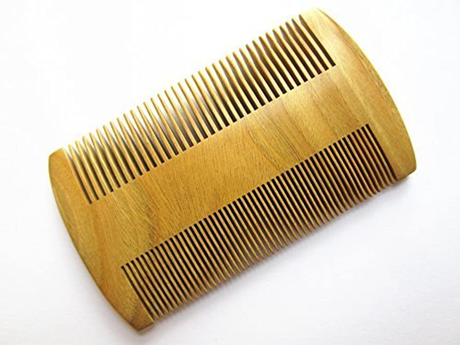 投獄論理的個人Myhsmooth GS-S2M-N2F Handmade Natural Green Sandalwood No Static Pocket Comb Perfect Beard Comb with Aromatic Scent for Long and Short Beards Perfect Mustache Comb(3.8