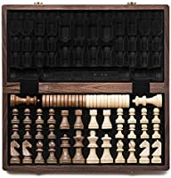 """15"""" Folding Wooden Chess & Checkers"""