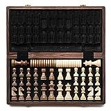 A&A Juego de ajedrez y Damas de Madera Plegable de 15