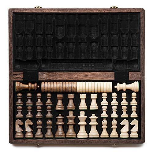 """A&A Juego de ajedrez y Damas de Madera Plegable de 15 """"con Piezas de ajedrez de Altura King de 3"""" / 2 Piezas de ajedrez de Madera de Reina Adicional / Incrustaciones de Nogal, Nogal y Arce"""