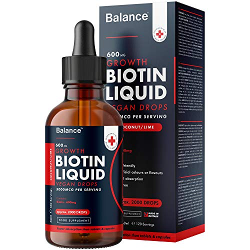 Balance Vitamin Biotin Liquid Drops - High Strength 5000mcg - Coconut/Lime Flavour - Vegan Friendly - Sublingual Fast Absorption - Gluten Free - Made in The UK - (60ml Bottle, 120 Servings)