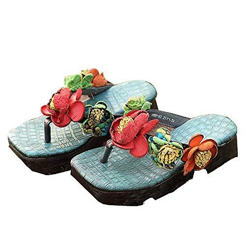 Verano Nuevas Zapatillas De Mujer De Fondo Grueso Flores De Cuero Antideslizante Ropa Exterior Chanclas De Moda Mujer Bohemio De Mujer De Fondo Grueso