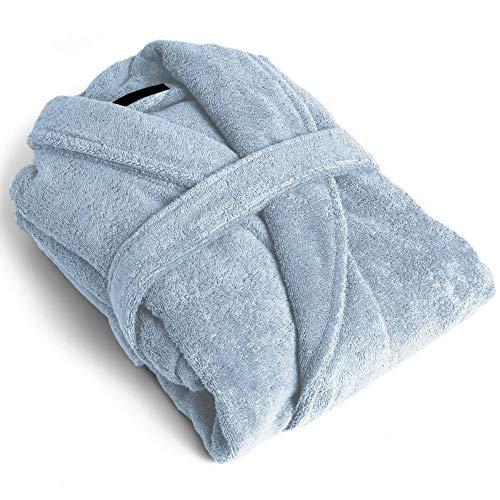 PimpamTex Unisex Bademantel aus 100% Baumwolle mit Smoking-Kragen für Damen und Herren Talla XXS Himmelblau