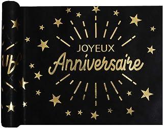SANTEX 6646-3-30, Chemin de Table Joyeux Anniversaire étincelant, Noir/Or
