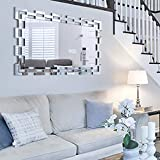 Chende Grand Miroir Mural, 90x60cm Moderne Rectangulaire Miroir pour Chambre Salon, Miroir Decoration Murale Design avec Cadre en Verriere