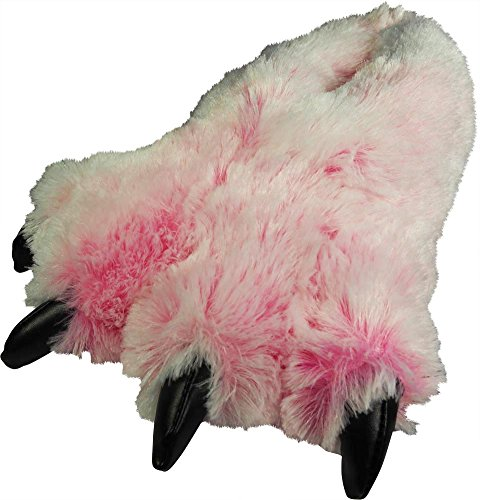 NORTY - Big Womens and Adults Big Foot Fuzzy Bear Claw Slippers, Pink 39432-Large
