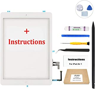 JPUNG Screen Replacement for iPad Air 1st Generation(White), with Home Button, Complete Repair Tools Kit, Camera Holder, Pre-Installed Adhesive Stickers, Instructions [365 Days Warranty]