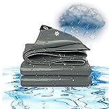 ZGQ Lonas Impermeables Exterior, Gris 18 Mil Pesada Lona Reversible Lavable Resistente Al Desgarro Lona con Ojales Lona De Protección De Espesor,21x24ft/7x8m