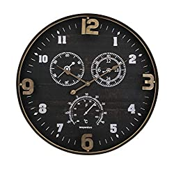 CC Home Furnishings 27.5 Brown and Black Distressed Finish Clark Wall Clock