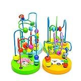 Pixnor Gioco educativo Mini montagne russe perlina labirinto cerchio di Mini legno perlina labirinto perlina Puzzle