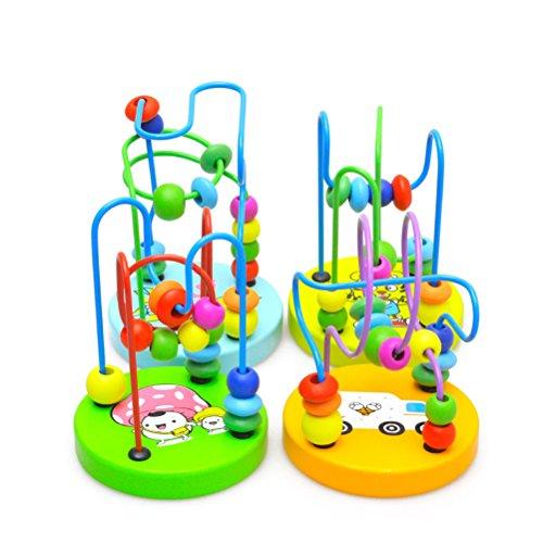 PIXNOR abyrinthe à Boules Rollercoaster Mini Perle Labyrinthe en Bois Mini Cercle Perle Labyrinthe Perle Puzzle