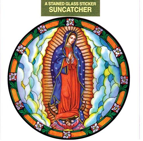 Our Lady of Guadalupe Window Decal, Reusable Vinyl Suncatcher, Stained Glass Design