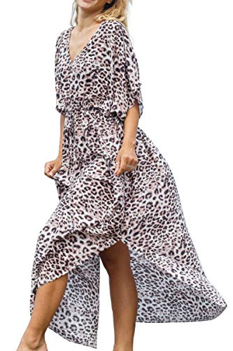 AiJump Algodón Kimono Vestido de Playa Cardigan Pareos Bikini Cover Ups para Mujer