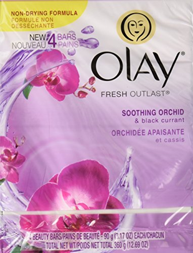 Olay Fresh Outlast Soothing Currant Beauty Bar, Orchid and Black, 4 Count, Packaging May Vary