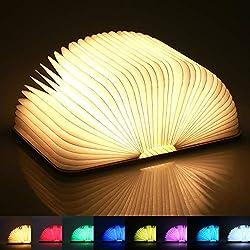 Yuanj LED Buch lampe, 8 Farbmodi Hölzerne Faltende Buchlampe, USB Aufladbare Stimmungsbeleuchtung, Dekorative Lampen/Nachtlicht/Nachttischlampe, Kreatives Geschenk für Frauen/Eltern/Kinder