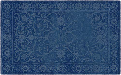 Brumlow Mills Georgiana Traditional Distressed Floral Print Pattern Home Indoor Area Rug for Living Room Decor, Dining, Kitchen Rug, or Bedroom Mat, 5' x 8', Denim