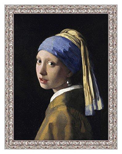 LuxHomeDecor Rahmen Druck auf Leinwand mit Holzrahmen Jan Vermeer Girl with a Pearl Earring 83x63 CM Cornice Argento Classico