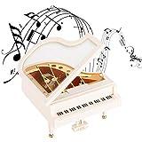 wosume Caja de música para Piano, Escritorio Tipo Madera de Pino a Cuerda, decoración del hogar, Regalo para Navidad/cumpleaños/día de San Valentín, Melody Castle in The Sky