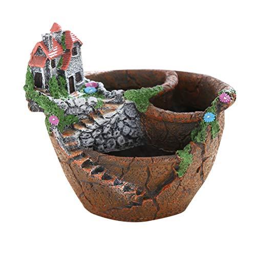Cabilock Nuevo Jardín de Hadas Miniatura Maceta de Flores rotas Villa Sweet House en Cliff Sky Castle Planter de esculturas