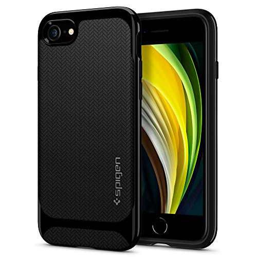 Spigen Funda Neo Hybrid Herringbone Compatible con iPhone SE 2020, Compatible con iPhone 8 y Compatible con iPhone 7 - Negro