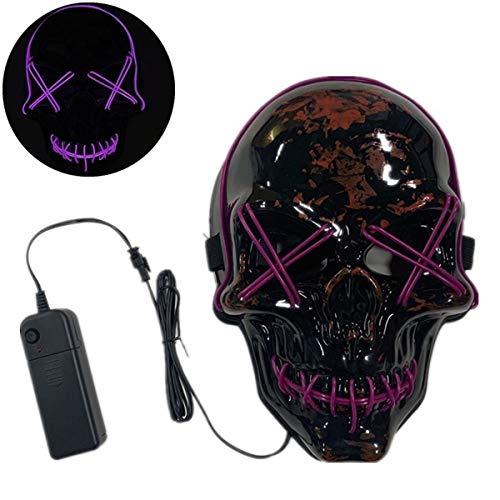 XUEE Halloween Led-masker, mannen/vrouwen, bekabeld schrikbaar skelet, ledverlichting, voor Halloween-kostuumfeest, modeshow, cosplay