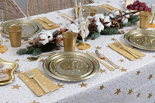 Party Planet [Pack Ahorro] Kit de vajilla desechable Elegante con decoración - Color Oro - Incluye Platos, Cubiertos, Copas, servilletas y decoración - 12 Personas