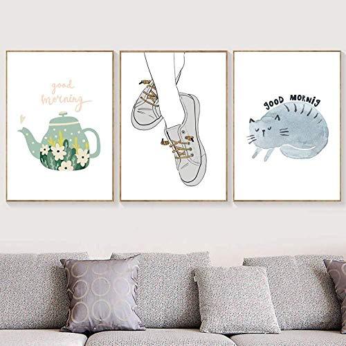 Zapatos De Gato De Dibujos Animados Tetera De Flores Imágenes Impresionismo Moderno Cartel Nórdico Lienzo De Pared Arte Impresión Pintura Dormitorio Decoración Del Hogar