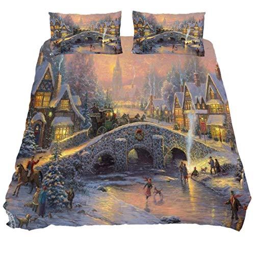 818 FUMIKV-Soft Microfiber Duvet Cover Sets 3 Pieces (2 Pillowcase,1 Duvet Cover) Christmas Village Decorative Bedroom Double