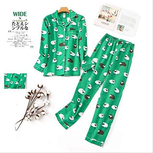 XFLOWR pyjama's dames Kawaii cartoon pyjama's 100% geborsteld katoen vrouwelijk leuk nachtpak lange mouwen nachtkleding S PH-008