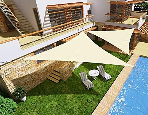 HENG FENG Toldo Vela de Sombra Impermeable Triangular 5 x 5 x 7 m Protección Rayos UV PES Repelente del Agua Resistente a la Intemperie para Patio Exteriores Jardín Color Beige