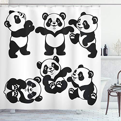 ABAKUHAUS Kindergarten Duschvorhang, Spielerische Panda-Bär Zoo, Trendiger Druck Stoff mit 12 Ringen Farbfest Bakterie & Wasser Abweichent, 175 x 180 cm, Schwarz weiß