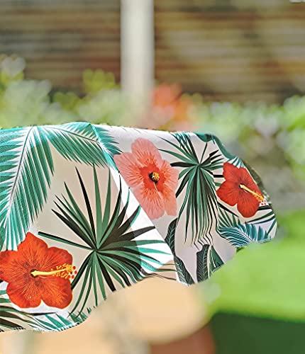 NAUTICALMANIA Mantel Redondo Anti-Manchas PVC Hule Plastificado 140x140 Tropical Tonos Verdes Fácil Limpieza y Desinfección - Apto para Interior y Exterior