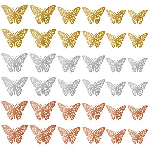 SacJkt Adesivo Murale Farfalla Dorata, Sticker Farfalla Da Parete, 36 Pezzi 3 Dimensioni Di Adesivi Murali Decorativi Farfalla 3D Per Soggiorno e Camera Da Letto
