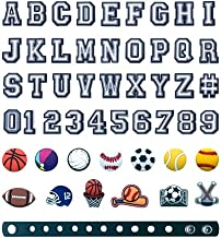 50pcs Letters Numbers and Sports Balls Mixed Shoe Charms Pack for Croc Shoes Bracelet Wristband,PVC Charms Decoration for Boys Teens Adults Party Favor Birthday Gifts