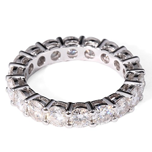 TransGems 2.5 CTW F Color Lab Moissanite Diamond Eternity Wedding Band in Solid 14K White Gold for Women (7.5)