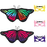 Tagaremuser 2 Stück Kinder Schmetterlingsflügel, Fairy Butterfly Schal und Maske für Jungen Mädchen verkleiden Sich Prinzessin Pretend Play Party Favors (Stil A)