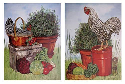 Wandschmuck Bild Huhn Rooster Ausgeschlossen Plymouth Rock Küche Zwei Set Art Print Poster (8x 10)