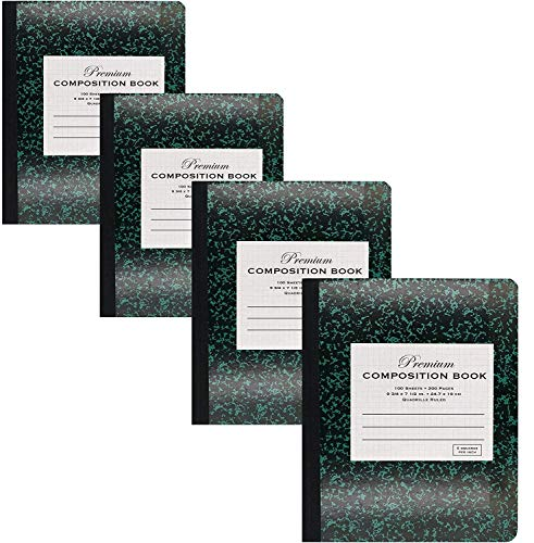 Emraw Green Marble Composition Book Quad Ruled Paper 100 Sheet Office Dairy Drawing Note Books Journals Meeting Notebook Hard cover Pack Of 4 Writing Book For school