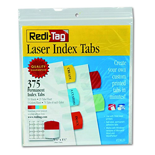 Redi-Tag Laser Printable Index Tabs, Permanent Adhesive, 1-1/8 x 1-1/4 Inches, Bulk Packed, 375 Tabs Per Pack, Assorted Colors (39020)