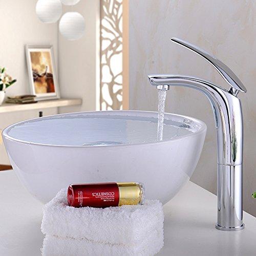 Maifeini - Grifo de lavabo chapado en plata de calidad Luo
