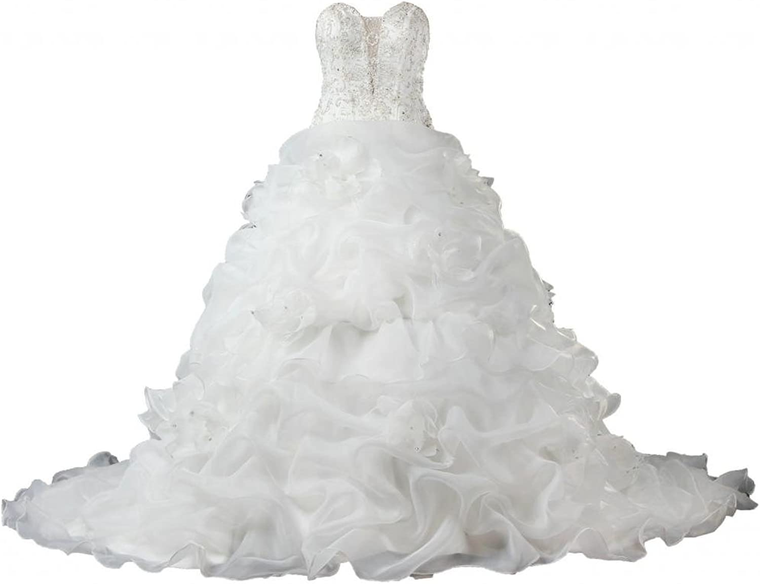 ANTS Gorgeous Ruched Flower Organza Bead Wedding Dresses