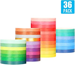 [36 Rolls] 0.5cm/ 0.2 inch Wide Colorful Washi Tapes Assorted Pure Colors, DIY Planner Craft Tape Paper Decor Scrapbooking Sticker Masking Paper Decoration, Gift Wrapping