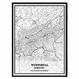 Wuppertal Deutschland Karte Wandkunst Leinwand drucken