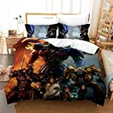 NOOS 3D Marvel Transformers Duvet Cover Set for Boys Optimus Prime and Bumblebee Bedding Set Queen Size, 100% Microfiber Kids and Teens Bed Set 3pcs(1 Duvet Cover, 2 Pillowcases) No Comforter Inside
